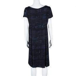 Prada Blue and Black Printed Short Sleeve Sheath Dress M 115000
