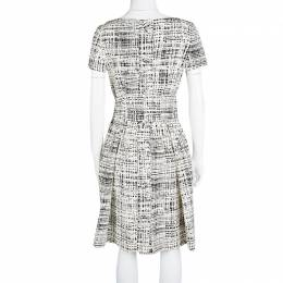Prada Monochrome Printed Silk Short Sleeve Pocket Detail Belted Dress M 114436