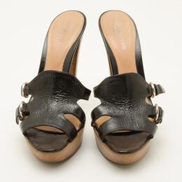 Sergio Rossi Black Leather Wooden Platform Slides Size 38 36737