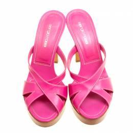 Sergio Rossi Pink Leather Peep Toe Platform Slides Size 38 159914