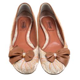 Missoni Multicolor Woven Fabric Bow Detail Ballet Flats Size 38.5 165771