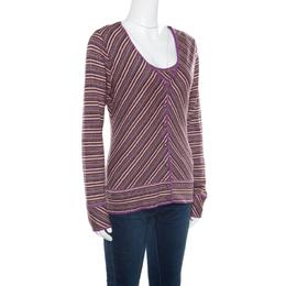 M Missoni Purple Lurex Striped Knit Sleeveless Top and Cardigan Set M 165863