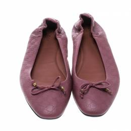 Gucci Pink Guccissima Leather Bow Detail Ballet Flats Size 39 168152
