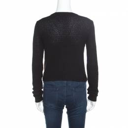 Ralph Lauren Collection Silk Knit Sequined Panel Front Crew Neck Sweater S 168289