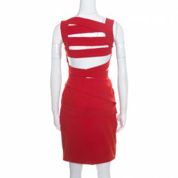 Preen by Thornton Bregazzi Ruby Red Asymmetric Bandage Detail Dew Bodycon Dress L 168651