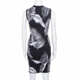 T By Alexander Wang Black Hawaiian Jacquard Sleeveless Bodycon Dress S 170458