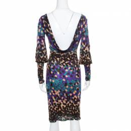 M Missoni Multicolor Dot Printed Stretch Knit Scoop Back Dress S 170926