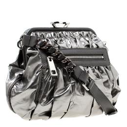 Marc Jacobs Metallic Grey Coated Canvas Parachute Little Stam Bag 175465