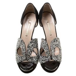 Nicholas Kirkwood Monochrome Suede Cut Out Platform Peep Toe Sandals Size 38.5 176948