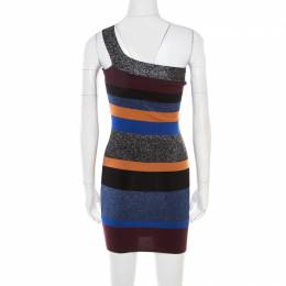 M Missoni Colorblock Striped Lurex Knit One Shoulder Bodycon Dress S 178408