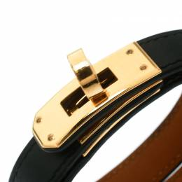 Hermes Kelly Double Tour Black Leather Gold Plated Wrap Bracelet M 178725