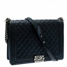 Chanel Navy Blue Quilted Leather Large Boy Flap Bag 181339