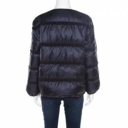 Moncler Navy Blue Bead Embellished Quilted Down Jacket S 182190
