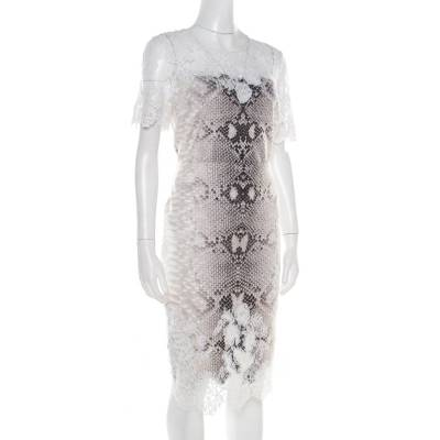 Ermanno Scervino Python Printed Jersey Lace Trim Top and Skirt Set M/L 186114 - 2