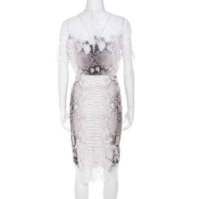 Ermanno Scervino Python Printed Jersey Lace Trim Top and Skirt Set M/L 186114 - 3