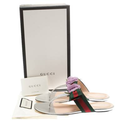 Gucci Metallic Silver Leather Cindi Web Bow Rose Detail Flat Thong Sandals Size 37.5 186734 - 8