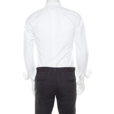 Dolce & Gabbana Gold Optic White Cotton Textured Bib Detail Tuxedo Shirt M 186312 - 2