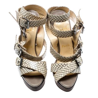 Christian Louboutin Beige Cobra Toutenkaboucle Strappy Platform Sandals Size 36 185372 - 2