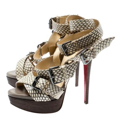 Christian Louboutin Beige Cobra Toutenkaboucle Strappy Platform Sandals Size 36 185372 - 3