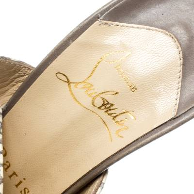 Christian Louboutin Beige Cobra Toutenkaboucle Strappy Platform Sandals Size 36 185372 - 6