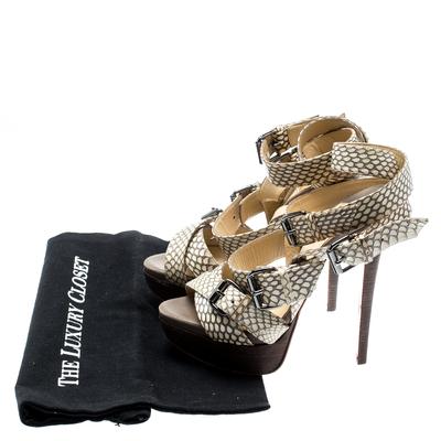 Christian Louboutin Beige Cobra Toutenkaboucle Strappy Platform Sandals Size 36 185372 - 7