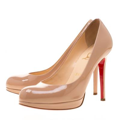 Christian Louboutin Beige Patent Leather Neofilo Platform Pumps Size 37 187302 - 3