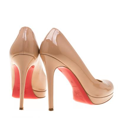 Christian Louboutin Beige Patent Leather Neofilo Platform Pumps Size 37 187302 - 4