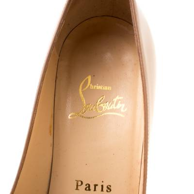 Christian Louboutin Beige Patent Leather Neofilo Platform Pumps Size 37 187302 - 6