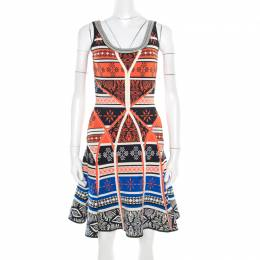 Diane Von Furstenberg Multicolor Jacquard Knit Fitted Flared Ilsa Dress S 187202