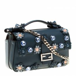 Fendi Blue Flowerland Leather Double Micro Baguette Bag 186021