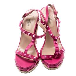 Valentino Pink Leather Rockstud T Strap Espadrille Wedges Size 36.5 192842