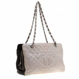 Chanel Metallic Silver/Brown Quilted Leather CC Logo Zip Shoulder Bag 188540