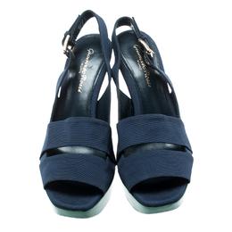 Gianvito Rossi Blue Fabric Backstrap Open Toe Wedge Sandals Size 37 192914