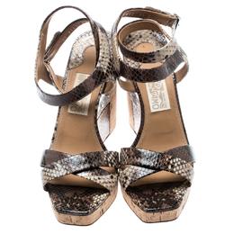 Salvatore Ferragamo Multicolor Python Embossed Leather Wedge Sandals Size 40 193870