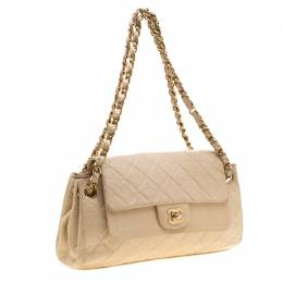 Chanel Cream Crinkled Leather Double Flap Shoulder Bag 193588