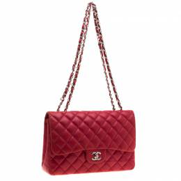 Chanel Red Quilted Leather Jumbo Classic Single Flap Bag 194081