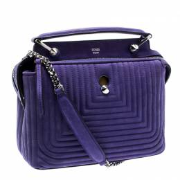 Fendi Purple Quilted Nubuck Leather Dotcom Click Shoulder Bag 195070