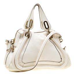 Chloe White Leather Medium Paraty Shoulder Bag 195697