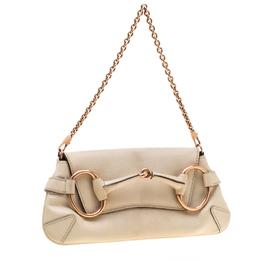 Gucci Cream Textured Leather Horsebit Chain Clutch 196487