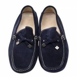 Baldinini Blue Suede Bow Loafers Size 41 196572