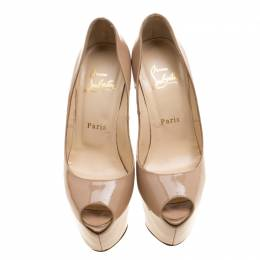 Christian Louboutin Beige Patent Leather Highness Peep Toe Platform Pumps Size 36.5 136638
