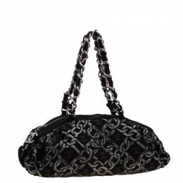 Chanel Black/Silver Fabric Bowler Bag 198680