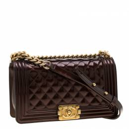 Chanel Dark Brown Quilted Patent Leather Medium Boy Flap Bag 198713