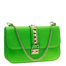 Valentino Neon Green Leather Rockstud Medium Glam Lock Flap Bag 198913