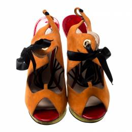Nicholas Kirkwood Multicolor Suede And Elaphe Python Cut Out Platform Slingback Sandals Size 38 198873