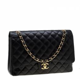 Chanel Black Quilted Leather Maxi Classic Double Flap Bag 198932