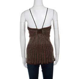 M Missoni Multicolor Ribbed Lurex Knit Halter Top L 150547