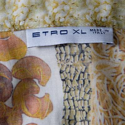 Etro Multicolor Pasta Print Long Sleeve Button Front Cotton Shirt XL 186294 - 5