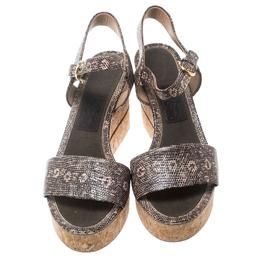 Salvatore Ferragamo Two Tone Embossed Lizard Leather Madea Cork Wedge Sandals Size 40 160240