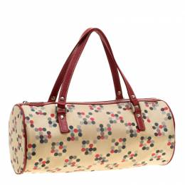 Burberry Cream/Red Printed Canvas and Leather Barrel Bag 195533
